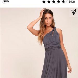 Gray maxi dress ( perfect bridesmaid dress)